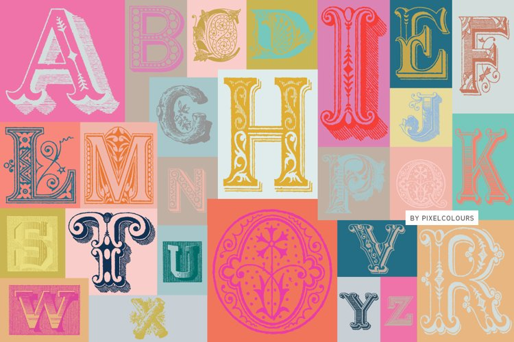 Antique Ornaments Alphabet Font example image 1