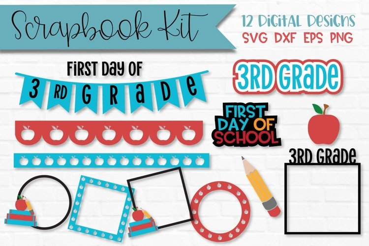 3rd Grade First Day of School Scrapbook Kit example image 1
