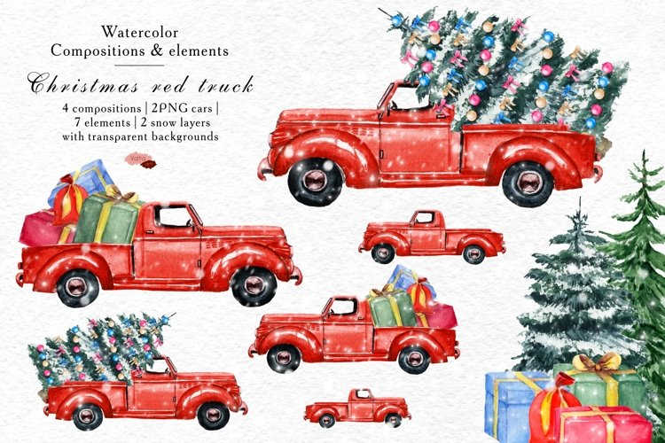 Watercolor Christmas Red Retro Pickup , Winter truck PNG example image 1