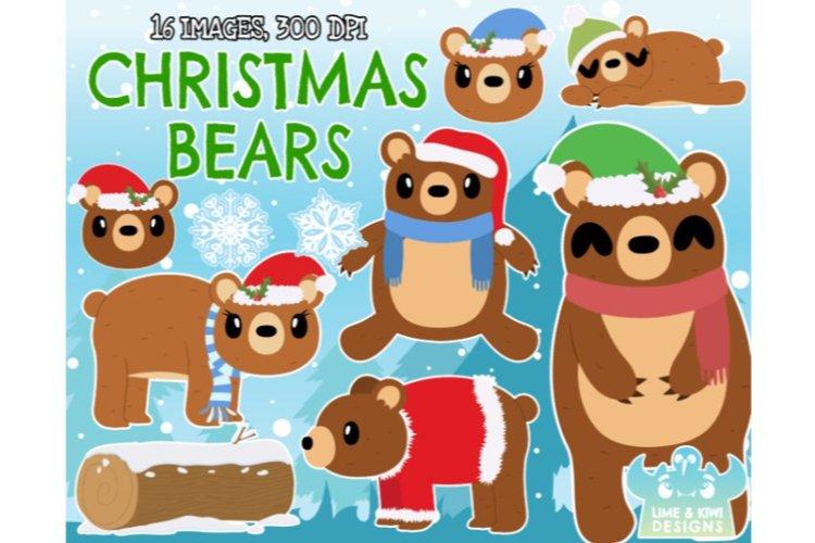 Christmas Bears Clipart - Lime and Kiwi Designs