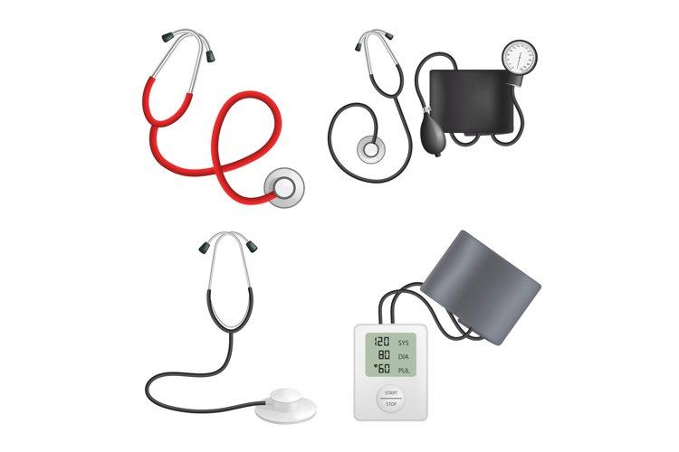 Phonendoscope device mockup set, realistic style example image 1