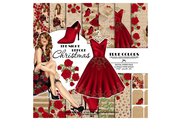Christmas Digital Paper Pack Fashion Clipart Fashion Blogger example image 1