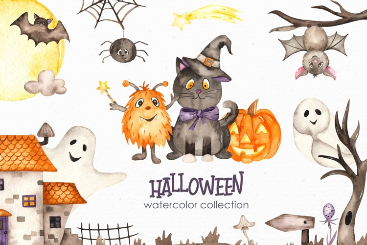 Halloween Watercolor. Clipart, cards, patterns, frames example image 1