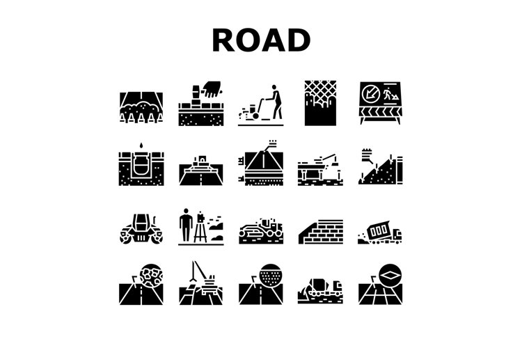 Road Construction Collection Icons Set Vector example image 1