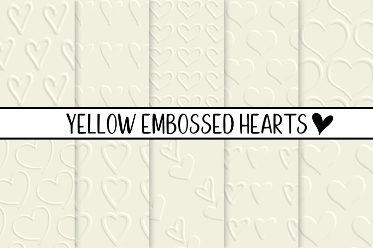 Yellow Embossed Hearts