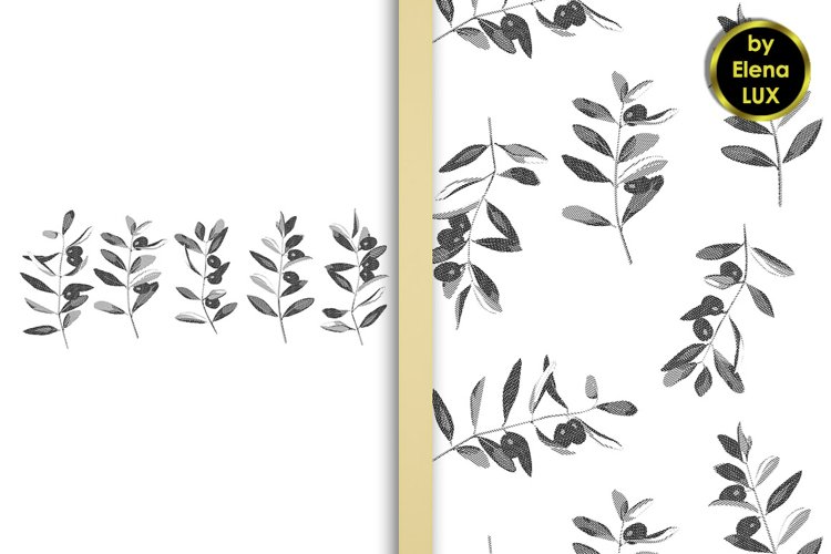 Olives hatching set and seamless pattern