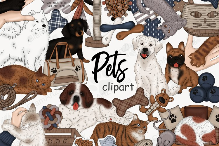 Pets CLIPART Cat Dog Animal Puppies Stickers - PNG files