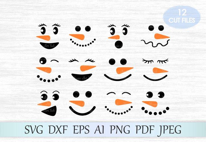 Snowman faces SVG, Snowman SVG, Christmas SVG, Clipart example image 1