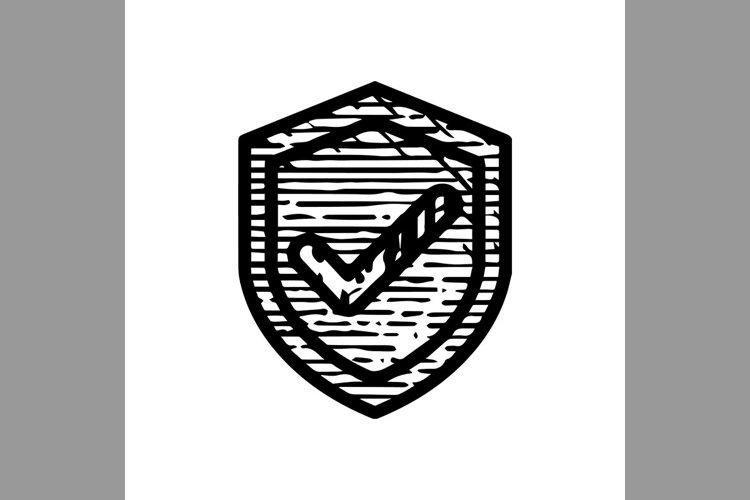 hand drawn check mk shield symbol line icon, Vector Illustra example image 1