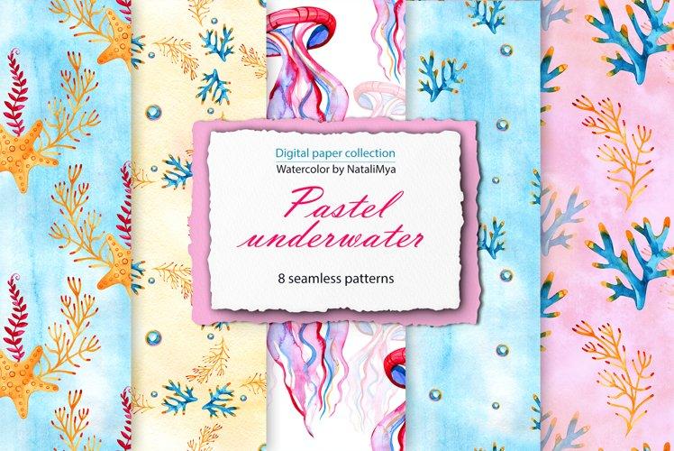 Watercolor Sea life digital paper pack example image 1