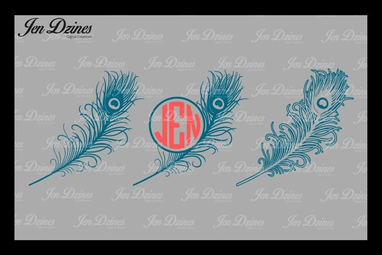 Peacock Feather SVG DXF EPS PNG example image 1