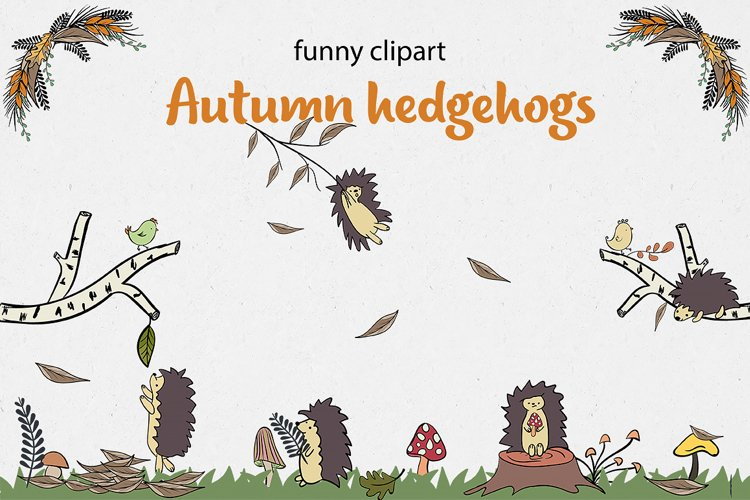 Autumn collection of hedgehogs example image 1