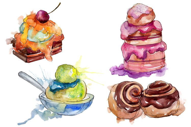 Dessert Appetizing Watercolor png example image 1