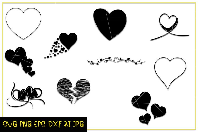 Heart Love SVG, Valentine Day Love, Silhouette Heart, Prints example image 1