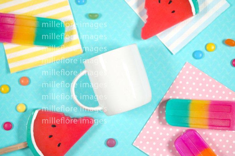 Summer Theme White Coffee Mug SVG Craft Mockup Styled Photo