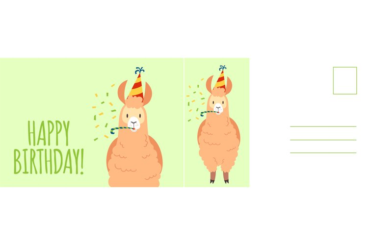 Happy birthday postcard. Holiday card with cute llama in fes example image 1