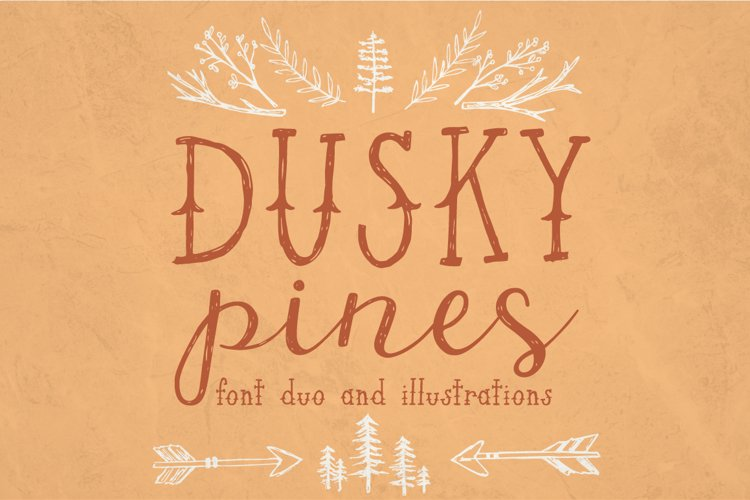 Dusky Pines Font and Illustrations example image 1