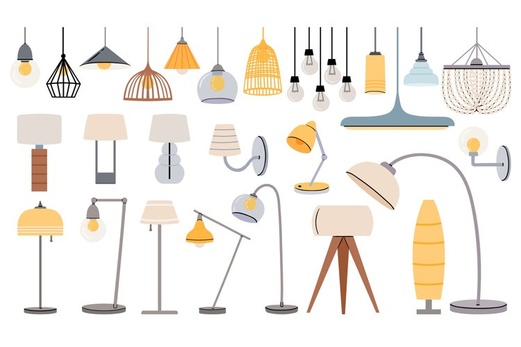 Cartoon lamps. Cozy flat torcheres, hanging chandeliers and