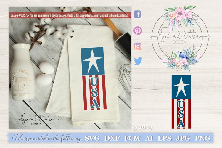 USA Vertical Design with Star and Stripes SVG DXF LL127E example image 1
