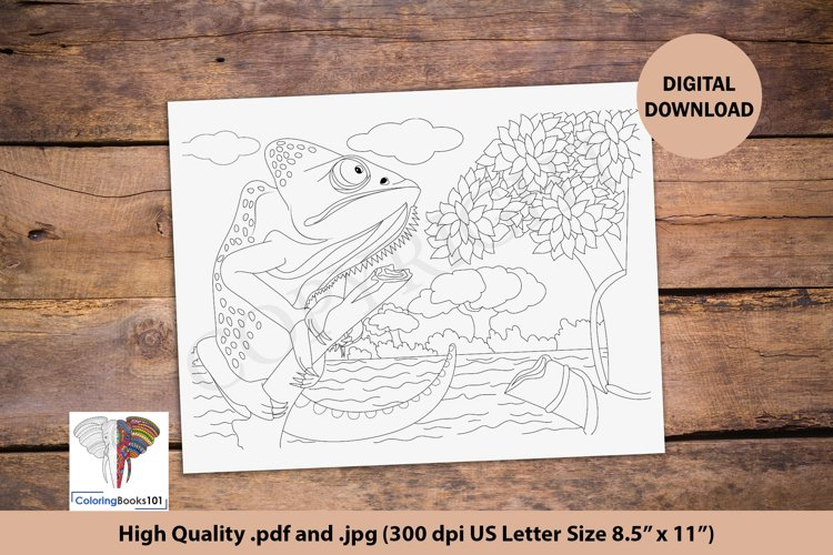 The Veiled Chameleon Sitting on Branch Coloring Page example image 1