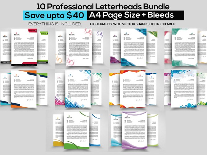 10 Business Letterheads Bundle example image 1