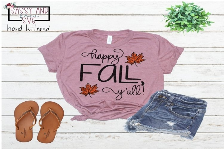 Happy Fall, Y'all! Hand Lettered SVG, PNG, & JPEG example image 1