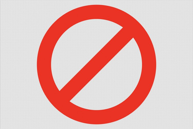Isolated Red Not Allowed sign in transparent PSD layer example image 1