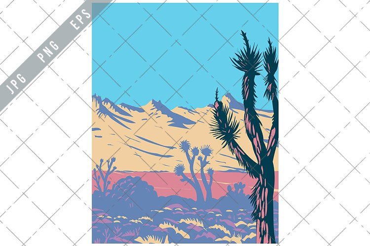 Castle Mountains Range and Joshua Tree in Mojave Desert WPA example image 1
