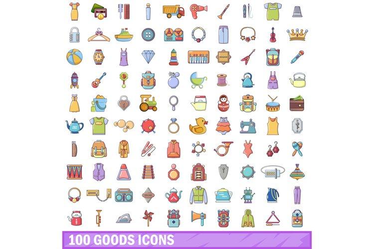 100 goods icons set, cartoon style example image 1