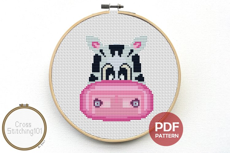 Cartoon Zebra Face Cross Stitch Pattern - Instant Download example image 1