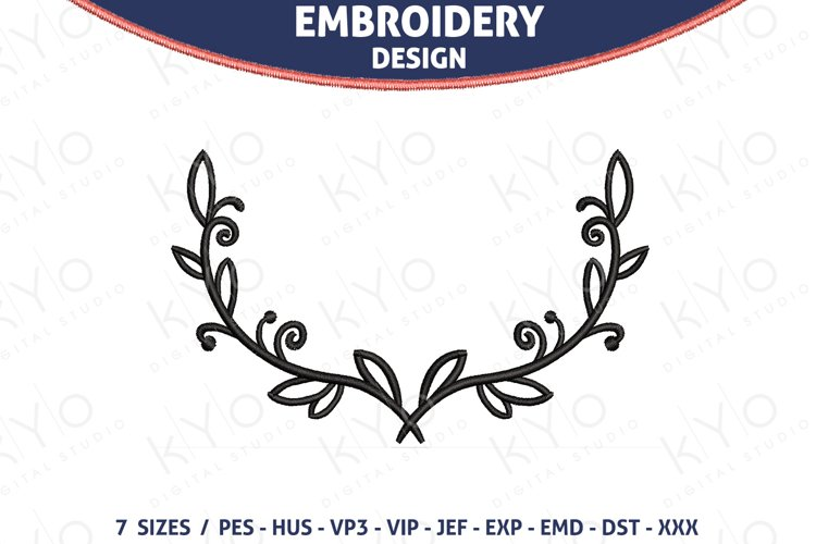 Laurel Leaf Wreath embroidery design example image 1