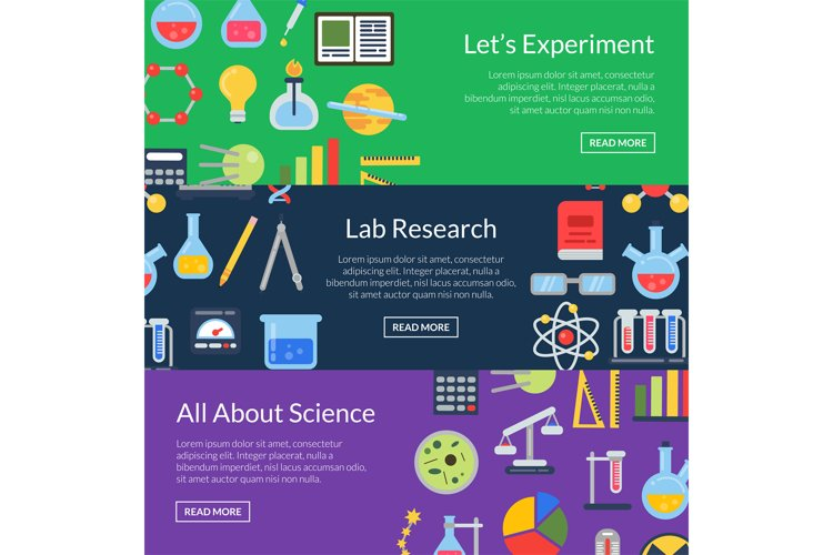 Vector web banner templates with flat style science icons example image 1