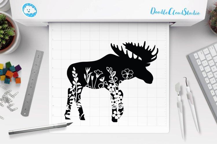 Floral Moose SVG Cut Files, Floral Moose Clipart