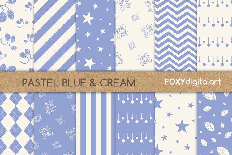 Digital paper blue floral pattern scrapbook wedding invite example image 1