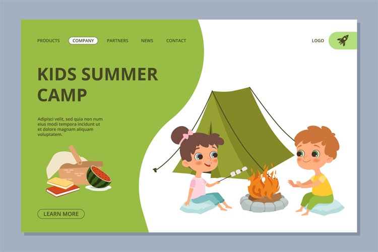 Kids summer camping vector web landing page