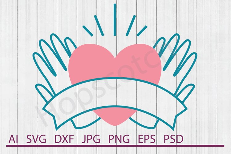Heart SVG, Holding Heart SVG, DXF File, Cuttable File example image 1