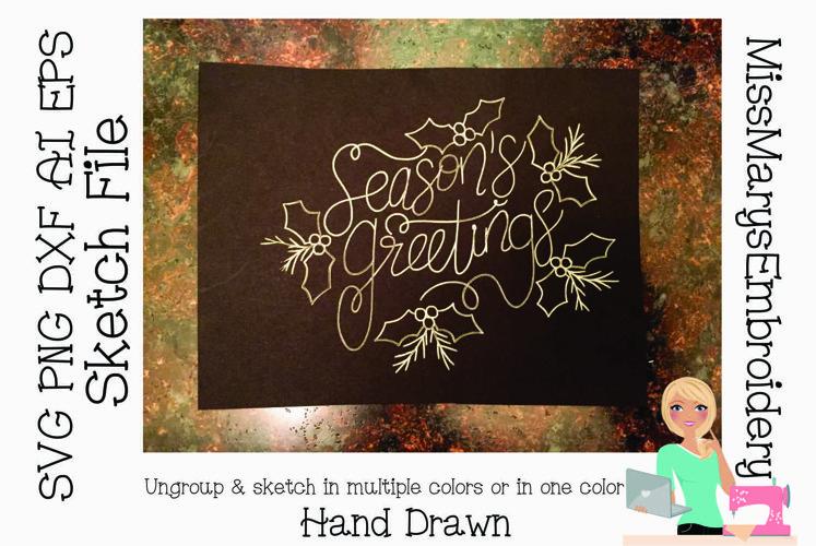 Sketch Seasons Greetings | Foil Quill SVG | Sketch File SVG