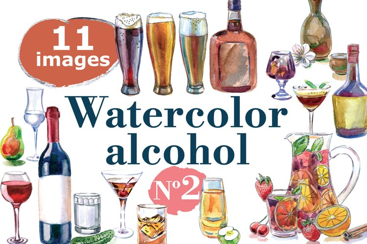 Watercolor alcohol-2 vector set example image 1