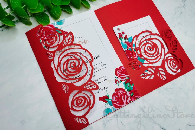 Rose wedding invitation template, Svg files for cricut example image 1