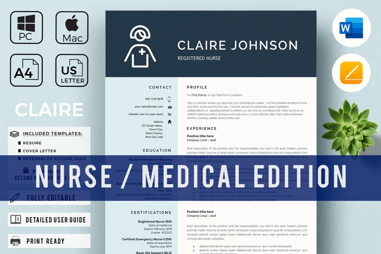 RN Nurse Resume template. Modern Resume format for Nurses example image 1