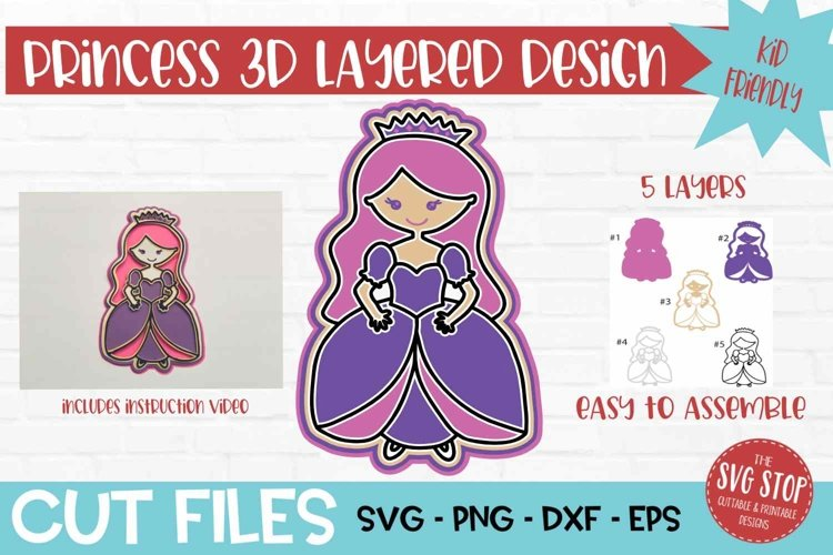 3D Layered SVG for Kids Crafts Princess example image 1