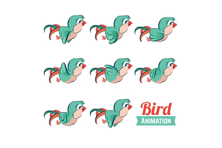 Key frames animation of bird flying. Cartoon zoo vector illu example image 1