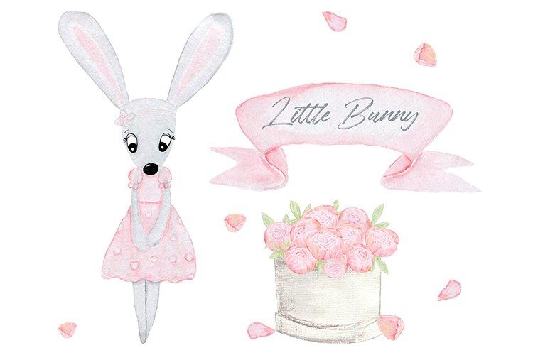 Easter bunny. Easter clip art. Rabbit watercolor.