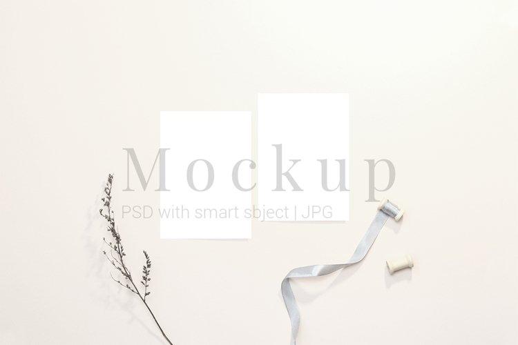 Card mockups with ribbon