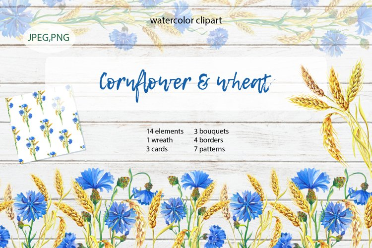 Cornflower & Wheat.Watercolor example image 1
