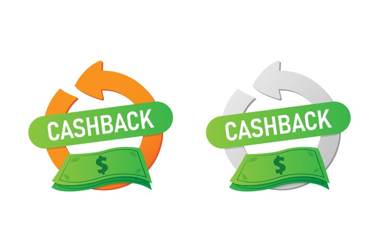Cash Back Icon or Label. Cash back symbol isolated example image 1