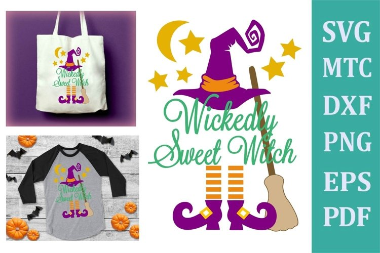 Wickedly Sweet Witch Halloween Design #01 Craft SVG Cut File example image 1