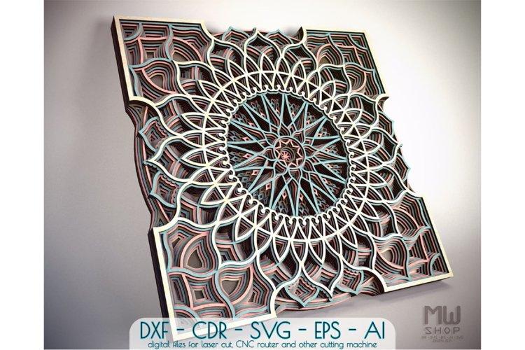 M57 - Laser Cut DXF Mandala, Layered Mandala for Laser Cut