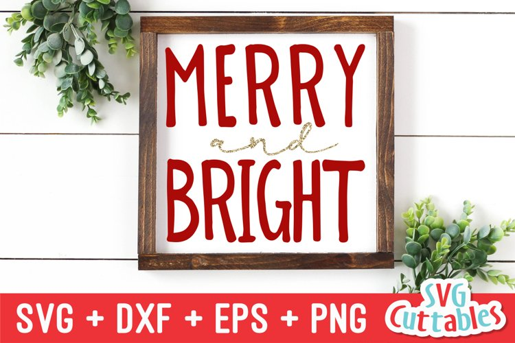 Christmas SVG | Merry and Bright | Sign example image 1