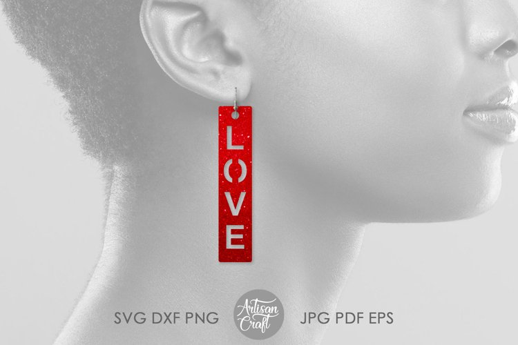 Love script earrings, SVG cut files example 3